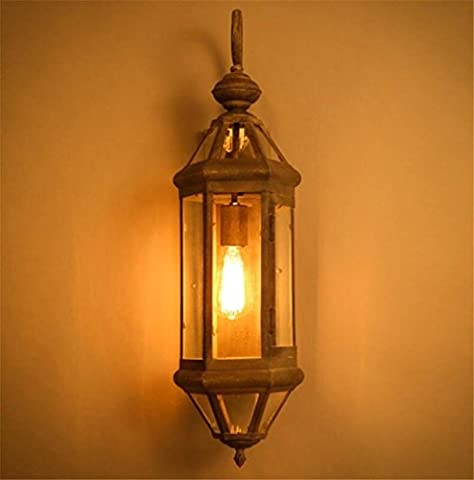 GJY Vintage Industrial Wall Lights Wall Lamp Wall Sconce Bedroom Living Room Staircase Hallway Lighting Old Iron Horse Glass Wall Lamp
