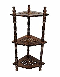 Worthy Shoppee Wooden Folding 3-Tier Corner Shelves For Home Decor Multipurpose Display Stand