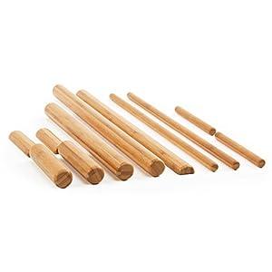 Bambus Massage Set, 11-teilig, Massagestäbe aus Vollholz, Bambusstäbe für die Massage-Therapie, Bamboo Sticks