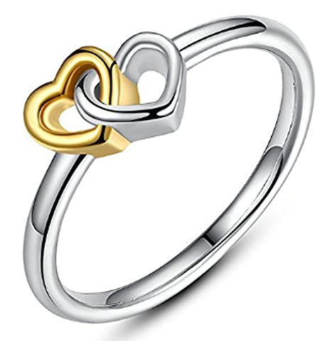 SaySure - 925 Sterling Silver & 18K Gold Plated Heart (SIZE : 6)