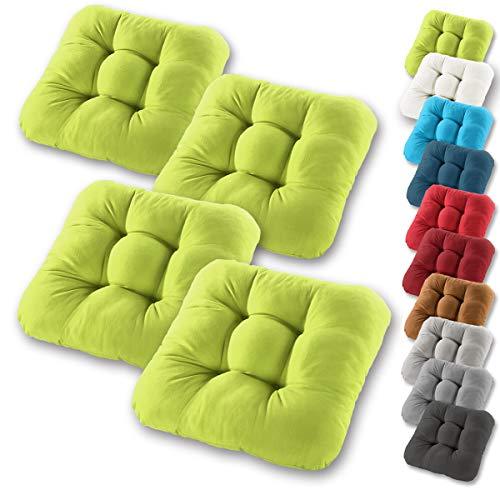 Gräfenstayn® set di 4 cuscini di seduta cuscino sedia 40x40x40x8cm per interno ed esterno - 100% cotone - molti colori - imbottitura spessa cuscino trapuntato/cuscino per pavimento (verde mela)