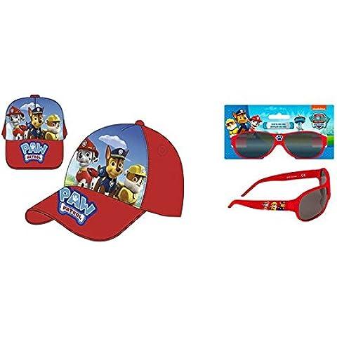 Set + Gorra Paw Patrol roja con logotipo y gafas de sol rojas Paw patrol. INCLUYE SET DE 6 LAPICES DE COLORES PAW