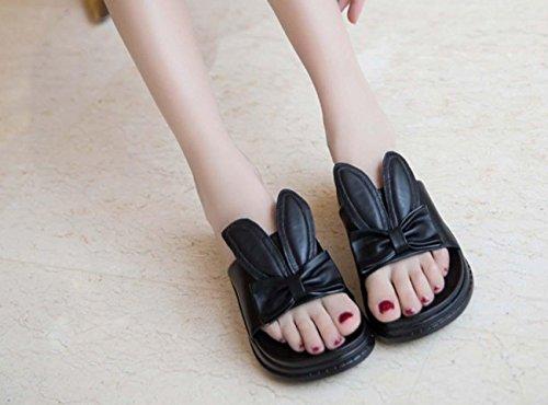 NobS Rabbit Ears Sandales de grande taille Pantoufles Black