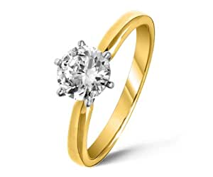 Certified Fancy 9 ct Gold Ladies Solitaire Engagement Diamond Ring Brilliant Cut 1.00 Carat GH-SI3-I1 Size H