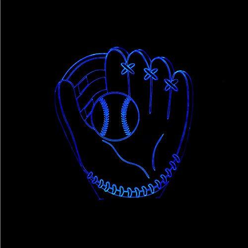 Dwthh 7 Bunte Led Schlafzimmer Dekor Nachtlicht 3D Baseball Handschuh Catcher Pitcher Gloves Tabelle Leuchtende Kinder Geschenke Left Hand Softball Handschuhe -