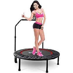 LBLA Trampolín Fitness Plegable 96 cm con Apoyabrazos Ajustables Trampolín para Niños Adultos Gimnasio Interior Equipamiento Deportivo Peso máximo 120 kg/260 lbs