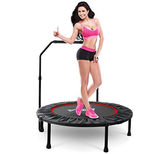 LBLA Faltbar Fitness Trampolin Indoor mit Höhenverstellbarer Haltegriff, Ø 96 cm, Nutzergewicht bis 120kg, Innentrampolin für Kinder Jugendliche und Erwachsene