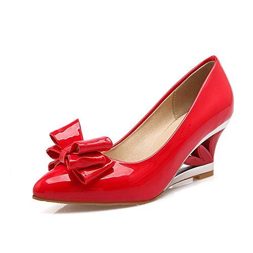 VogueZone009 Femme Pointu à Talon Correct Tire Chaussures Légeres Rouge