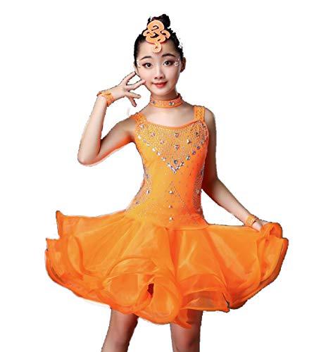 YZLL Latin Dance Kleid für Kinder Latin Latin Dance Kostüme für Kinder Kinder Mädchen Pailletten Latin Tango Ballroom Dance Kostüm ()