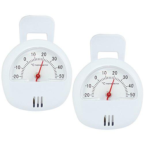 com-four® 2 magnetische Raum-Thermometer, Thermometer mit Magnet und Standfuß (2 Stück - Raumthermometer) -