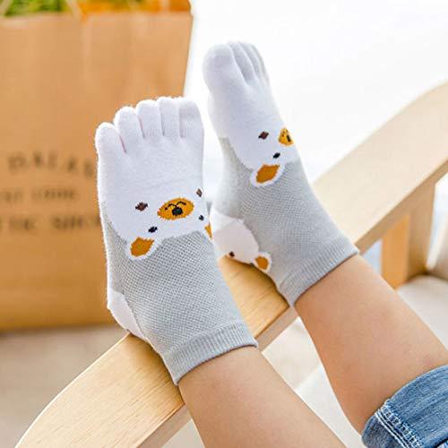 Preisvergleich Produktbild Yuwooben Gearbeitete 1 Paar Kinder Fünf Finger Socken Super Süß Dünn Netz Kinder Split Zehensocken Baumwolle Kurz Sports Sweat Jungen Mädchen - White-M,  M