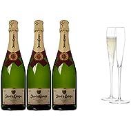 Juve y Camps Cinta Purpura Brut Reserva 2011 Wine 75 cl (Case of 3) and LSA International Wine Grand Champagne Flute, 100 ml (Pack of 2)