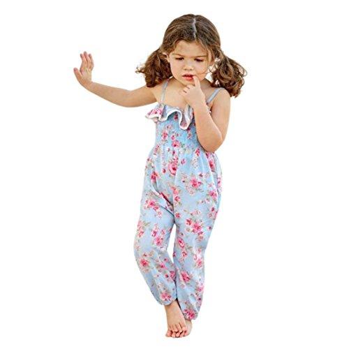 Yanhoo Babykleidung Mädchen Floral Band Fransen Gestreiftes Lotus Leaf Edge Elastische Siamesische Hosen Overalls Kinder for Mädchen 0~5 Jahre (110, Blau)