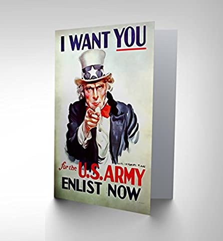 PROPAGANDA UNCLE SAM USA ARMY WANT YOU BIRTHDAY BLANK GREETINGS CARD CP1254