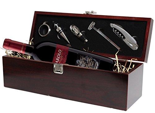 Geschenkset Weinset Jahrgang 2013 Barolo DOCG Rotwein - in Holzkiste mit Sommelierset