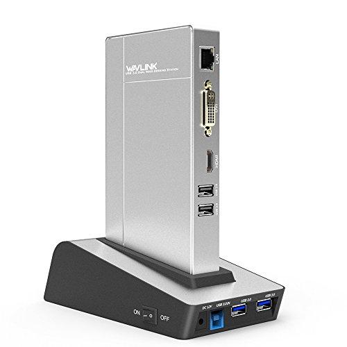WAVLINK USB 3.0 Universal Dockingstation mit Zwei Videoausgängen (DVI, VGA oder HDMI) und externer Festplatten Dockingstation für Laptop/PC oder Mac