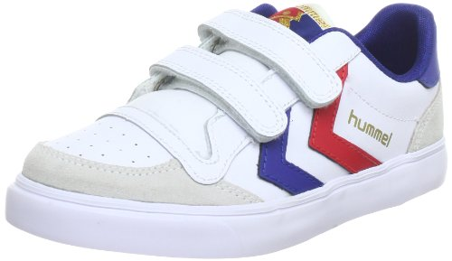 hummel HUMMEL STADIL JR LEATHER LOW, Unisex-Kinder Sneakers, Weiß (White/Blue/Red/Gum), 37 EU (4 Kinder UK)