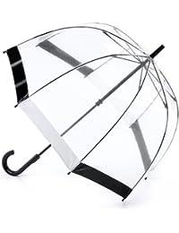 Fulton Birdcage-1 clairement parapluie en forme de dôme avec une bordure en noir et blanc