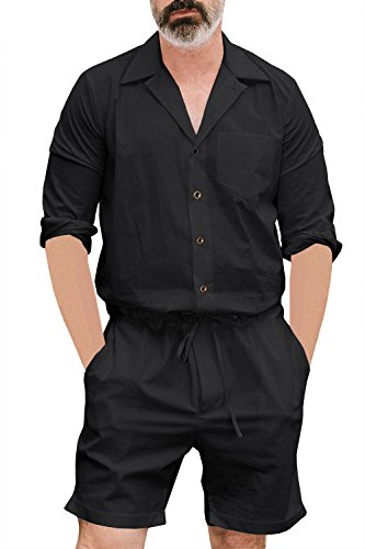 Gemijacka Herren Sommer Jumpsuit Kurz Onesie Overall Freizeit Strand Mode Streetwear