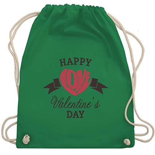 Valentinstag - Happy Valentine's Day Herz Love Typographie - Unisize - Grün - WM110 - Turnbeutel & Gym Bag