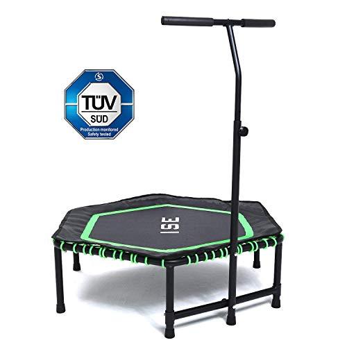 ISE Fitness Trampolin,Trampolin für Jumping Fitness Ø 120 cm höhenverstellbarer Haltegriff(113.5-134.5cm),leise Gummiseilfederung,Nutzergewicht bis 150kg,TÜV-Geprüft SY-1105-GR