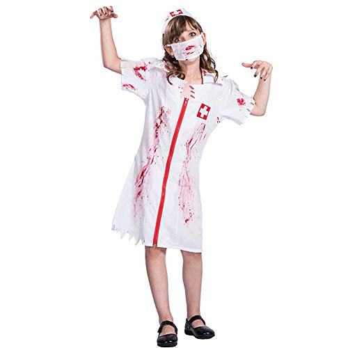 GLXQIJ Childrens Childs Kids Zombie Krankenschwester Kleines Mädchen Halloween Kostüm, Mit Hut & - Beängstigend Krankenschwester Kostüm