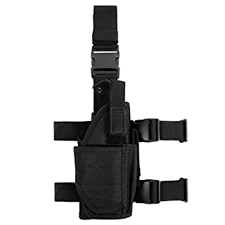 Gun Drop Leg Pouch, Tactical Universal Pistol Pouch Right Handed Holster, Black Black
