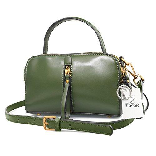Borse Retro Yoome per Borsa a Tracolla in Vera Borsa Vegan Leather Ladies Borsa Satchel per Ragazze - Rosso verde
