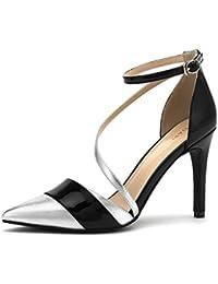Party Lady Shiny High Heels Fashion Bandage Colorblock Sandalias Asimétricas De Tacón Alto (Blanco Plata)