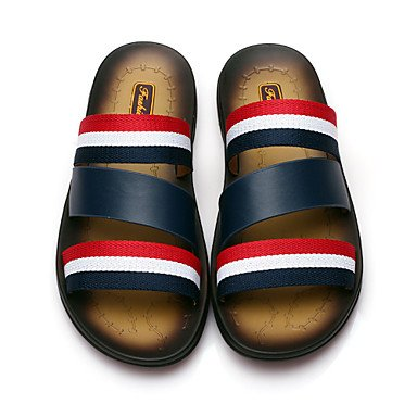 En plein air Chaussures hommes sandales en cuir blanc/bleu White
