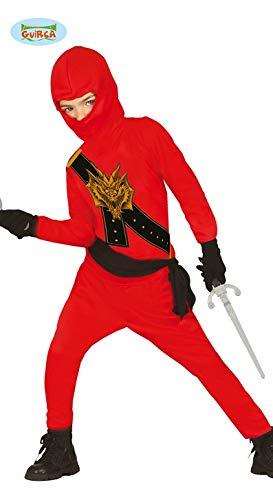 Ninja Kostüm für Kinder schwarz-rot mit Dragon-Print - Ninja Kostüm für Kind Jungen rot schwarz 128/134 (Dragon Kostüm Kinder)