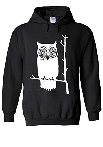 Owl Cute Funny Cool Novelty Black Men Women Unisex Hooded Sweatshirt (Hoodie Owl)