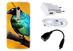 Spygen Motorola Moto X Style Case Combo of Premium Quality Designer Printed 3D Lightweight Slim Matte Finish Hard Case Back Cover + Charger Adapter + High Speed Data Cable + Premium Quality OTG