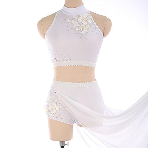 laufen Kleid für Mädchen Frauen Eiskunstlauf Wettbewerb Kostüm Skating Sets Strass Applikationen Ärmellos Neckholder Weiß, XL (Perlen Applikationen Für Kostüme)