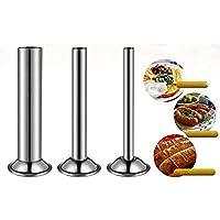 Haudang Lot de 3 tubes de remplissage en acier inoxydable pour saucisses - Entonnoir - Buses - Pièces de rechange…