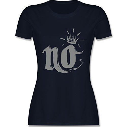 Statement Shirts - Nö Krone - tailliertes Premium T-Shirt mit Rundhalsausschnitt für Damen Navy Blau