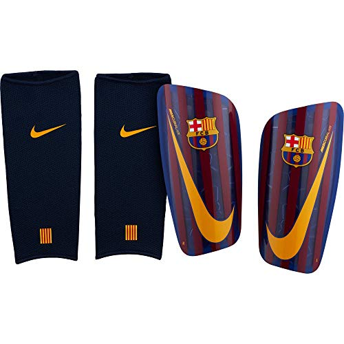 Official 2018 2019 Barcelona Mercurial Lite Shinpads manufacturedPrinted FC Barcelona colours and crest display your club pride while you play safe with the Barcelona Mercurial Lite Shin Guards. The durable resin shell provides tough protection, with...