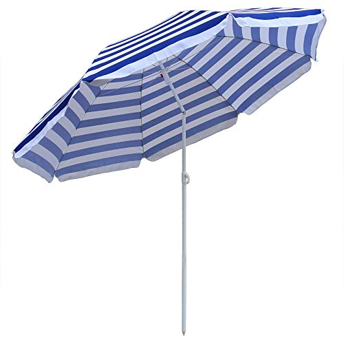 Greenbay Parasol Ø 180 cm inclinable pour patio jardin balcon piscine plage rond Sunscreen Rayures blanches bleues