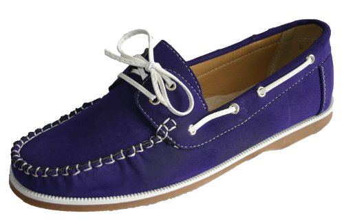 Ladies Coolers Faux Nubuck Leather Loafer Lace Up Boat Deck Shoes Sizes 4 - 8 (5 UK, Lilac)