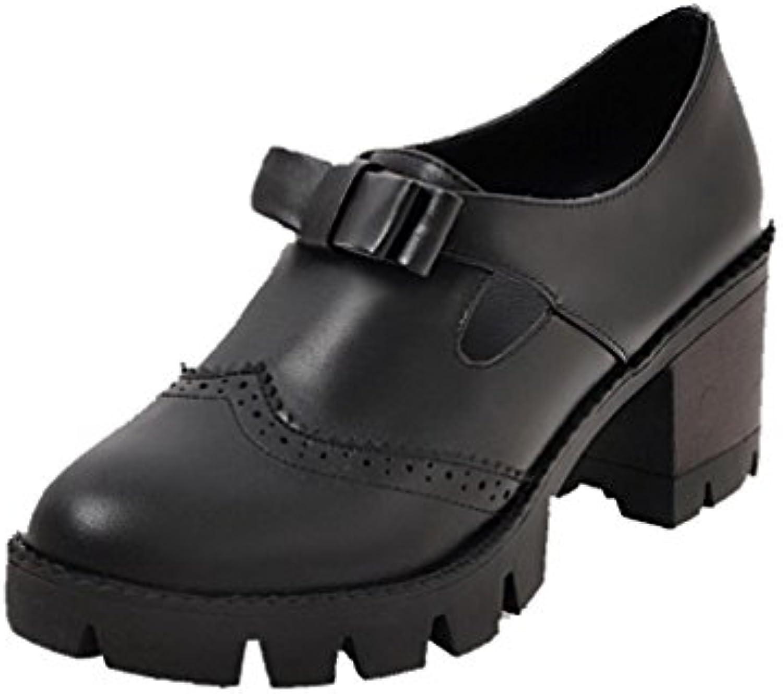 AllhqFashion Damen Pu Ziehen auf Rein Mittler Absatz Pumps Schuhe Schwarz 39