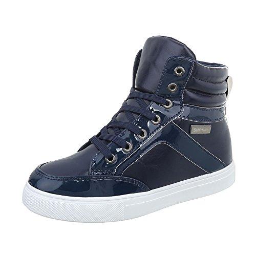 Sneakers Alte Sneakers Da Donna Sneakers Alte Stringate Ital Design Scarpe Casual Blu Scuro N-16-2