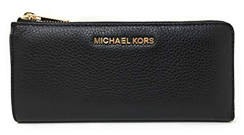 Michael Kors Jet Set Large Three Quarter Zip Around Pebbled Leather Wallet (Michael Kors Heels Frauen)