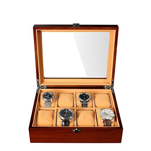 Bosschong contenitore per orologio in legno contenitore per orologio in legno 8 vetrino contenitore per gioielli vetrine con ripiano in vetro e cuscini rimovibili marrone