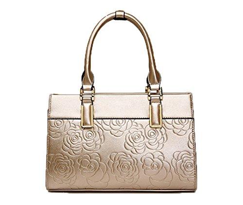 PACK Europe Fashion Rose Ha Impresso La Personalità Spalla Borsa Diagonale Portatile Di Spalla,C:Red D:Gold