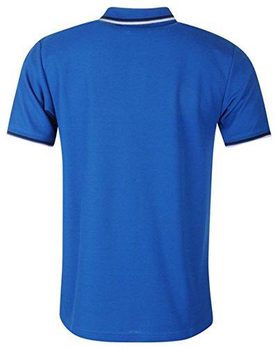 Herren Polo-Shirt für jeden Tag, gestreifte Säume an Kragen und Ärmeln, Kurzarm Blau - Königsblau