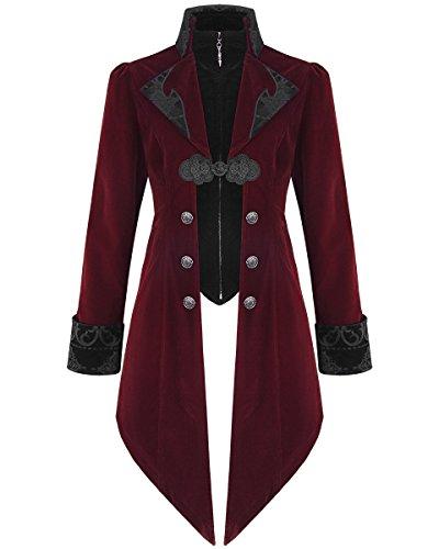 Devil Fashion Jackett, Herren, Samt, Steampunk-Stil, Aristokratenlook, Regency-Design, roter Samt Gr. X-Large, burgunderrot