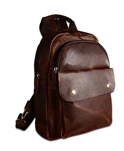 DJB/ Retro-stilvolle Leder Rucksack Handtasche Damen Brust Header Schicht aus Leder Umhängetasche Crazy Horse Rucksack aus Leder chocolate