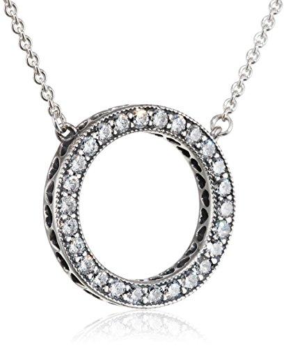 Pandora Ladies Logo Necklace 925 sterling Silver Pendant 590514CZ-45