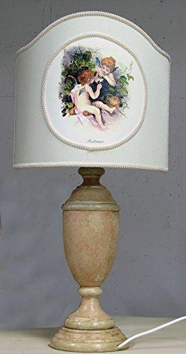 Lampe en bois vieux rose