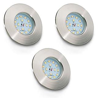 LED bathroom spotlight I LED downlights I recessed ceiling lamp I extra flat I No tranformer/driver required I splash water proof I warm white I matte nickel design I 3 x 5 W illuminant I 230 V I IP44